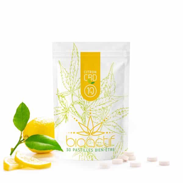 Bonbon citron sans sucre pastille CBD BioActif