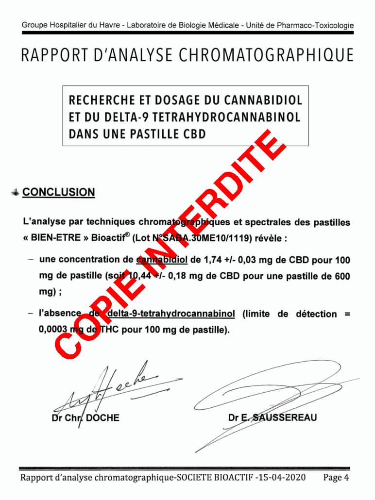 rapport analyse absence thc dans pastille cbd bioactif