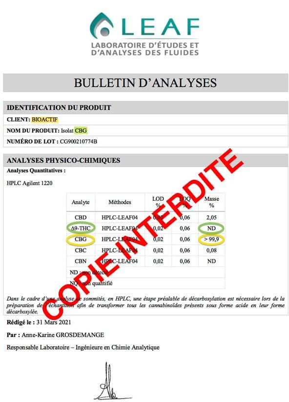 cbg bioactif certifie sans thc