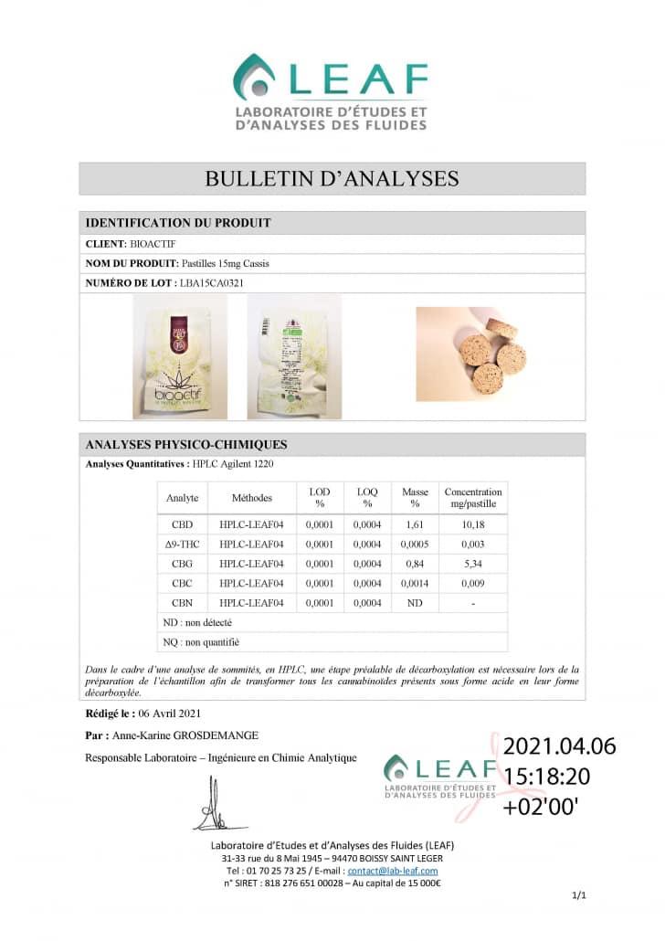 bioactif pastilles 15mg cassis