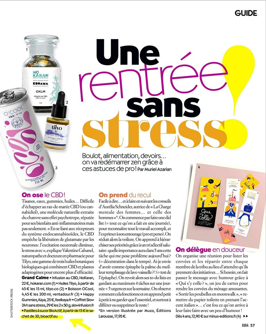 Pastille CBD bio française BioActif dans le magazine Biocontact 07/2021